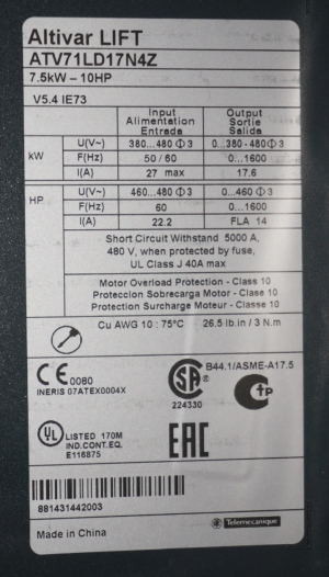 Altivar ATV 71 7,5kW - 10HP